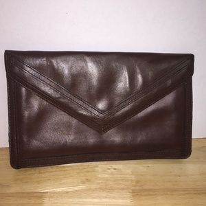 Brown Leather Clutch wth Tan Interior